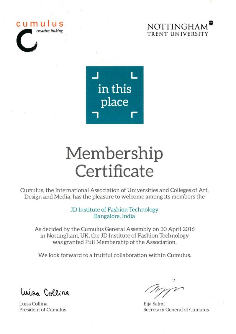 Cumulus Certificate | JD Institute of Fashion Technology