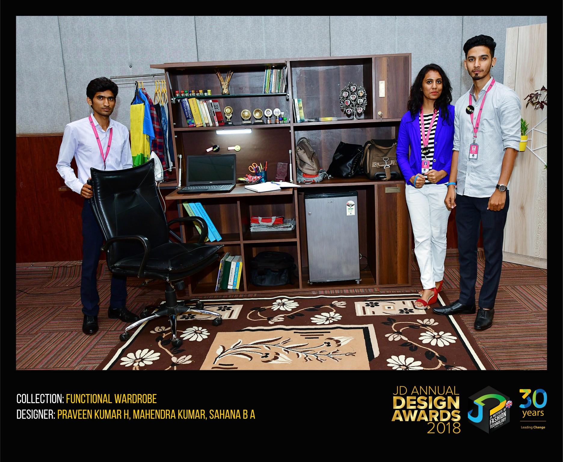 Functional Wardrobe– Change – JD Annual Design Awards 2018 | Designer: Praveen Kumar H, Mahendra Kumar, Sahana B A | Photography : Jerin Nath (@jerin_nath)
